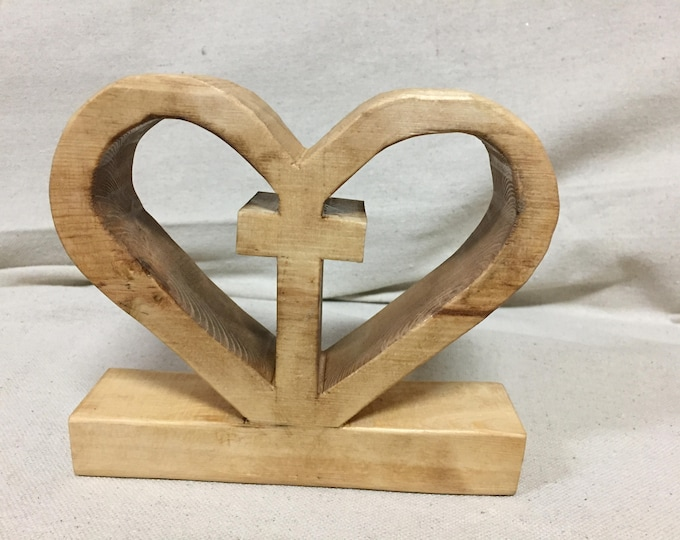 A. Jesus Dwells in My Heart | Unique Wooden Heart Cross Design | Light Natural Stain