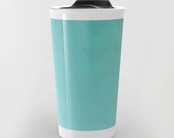 Blue Travel Mug - Cyan Blue Triangle Art  - Coffee Travel Mug - Hot or Cold Travel Mug - 12oz Travel Mug -Made to Order