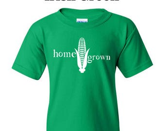 Home Grown Youth Tee/home grown tee/home grown/home grown shirt/corn shirt/corn tee/farming/farming shirt/farming tee//farm gift/farmer tee