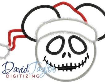 Mickey head - Nightmare Before Christmas - Jack Santa - Applique - Instant Download - David Taylor Digitizing