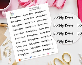Dining Room Planner Stickers for Erin Condren Life Planner, Kikki K, Happy Planner, Filofax etc, words, text, script, cleaning, food, meals