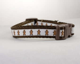 Gingerbread Dog Collar - 5/8, or 3/4 wide - Christmas dog collars - holiday dog collar - winter dog collar - brown dog collar - cookie dog