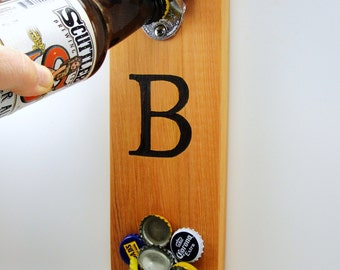 CUSTOM wall mount stainless steel bottle opener cedar magnet cap catcher your initial