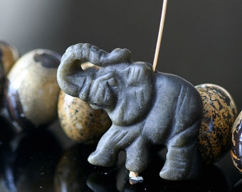 Carved Stone Elephant Bead - Matte Black Obsidian Elephant - Wildlife Beads - (1 bead) 25x35mm