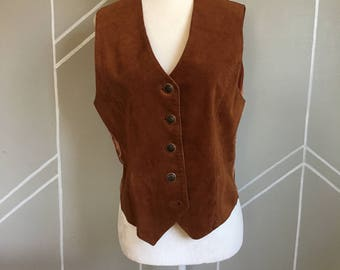 Vintage Western Style Leather Vest 100% Leather Size M, Western Leather Vest, Made in Korea