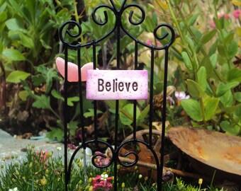 Fairy Garden Gate Believe Sign, Miniature Garden Gate Fence, Whimsical Fairy