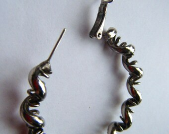 Antiqued Silver Twisted Hoop Earrings //Vintage Jewelry //Pierced ears