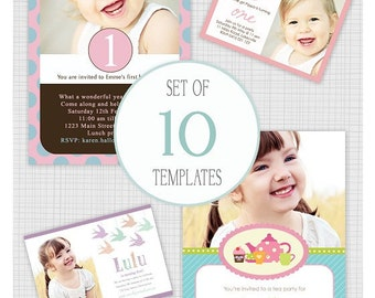 INSTANT DOWNLOAD.  10 PSD girls birthday party invitation templates. Mini Pack 7.