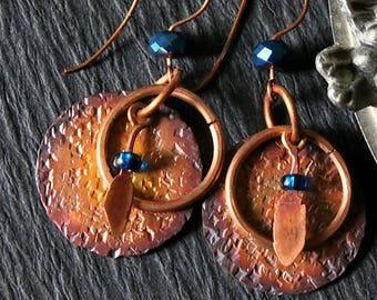 Rustic Copper Earrings, Tribal Boho Hippie Earrings Hammered Copper Earrings Antiqued Patina Rustic Drop Earrings Copper Jewelry Mom Gift
