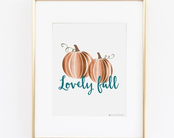 Fall Decor|Fall Printable | Fall Prints | Lovely Printable Art | Instant Download | Autumn Printable | Pumpkin Printable | Copper Print