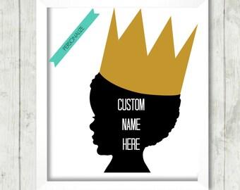 Printable Art, African American Printable, Nursery Print, Boy's Playroom,  Wall Art, Prince Printable, Custom Nursery Art, Black Art
