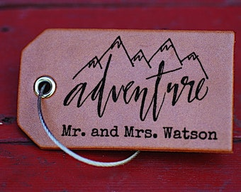 Wedding Luggage Tag, Bride OR Groom Gift, Adventure, Mrs. Mr., Destination Wedding Gift, Baggage Tag, Bridal Shower, Wedding Shower Gift,