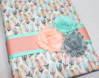 Boho Baby Journal / Baby Milestone Book / Baby Book with Feathers / Coral and Mint Baby Memory Book / Baby Milestone Book / Baby Girl Book