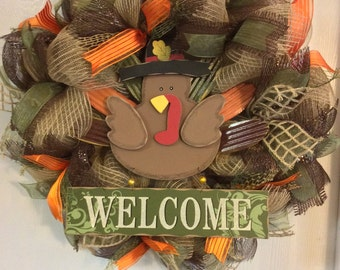 Fall Wreath,Autumn Wreath,Turkey Wreath,Thanksgiving Wreath