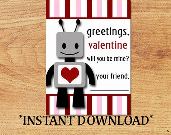 INSTANT DOWNLOAD - Blank Valentine - Robots - Mini Valentine