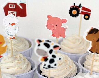 24 pc Farm Animals Party Supplies Cardboard Cupcake Toppers - 8 assorted Designs with wooden sticks FA040218