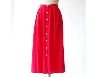 vintage red silk button front skirt / size large