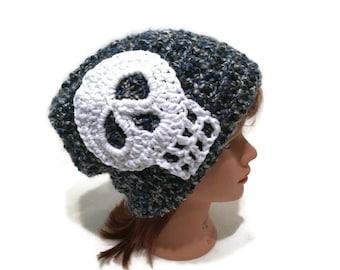 Skull Hat, Skull Beanie, Halloween Hat, Blue Skull Hat, Skull Accessories, Blue and Grey Hat, Skull Winter Hat, Fuzzy Winter Hat, Skulls