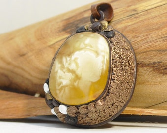 Baltic amber leather, natural amber, pendant, handmade jewelry