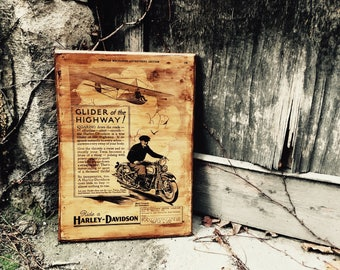 Glider of the Highway Harley-Davidson Sales Brochure from 1931 Motorcycle Wooden Picture Wall Decor Home Decor