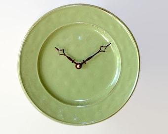 Modern Wall Clock, 8-3/4 Inch Stoneware Plate Clock, Wall Decor, Kitchen Clock, Kitchen Decor, Teal Home Decor, Olive Green Clock 1852