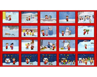 Charlie Brown Christmas Time Squares Fabric Panel / Charlie Brown Christmas  / Kids fabric / Christmas quilt / Quilt Fabric Panel