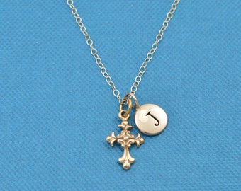 "Little girl's cross necklace in natural bronze on a 14"" gold filled chain and personalized with initial charm. Christian Jewelry. Custom."