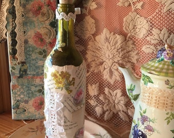 Shabby chic altered bottle original art decoupaged with rare old paper