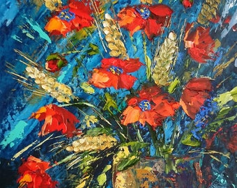 Red poppies with spikelets; original palette knife oil painting, framed