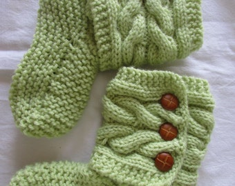 Soft Green Knitted Cozy Slippers - Slipper Socks - Soft Green Slippers - Women Slippers - Ready To Ship in size 7 1/2-8 1/2 or MADE TO ORDER