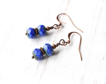 Blue and Copper Earrings, Blue Earrings, Blue and Green Earrings, Stacked Earrings, Czech Glass Beads, Copper Earrings, Boho Style