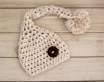 Newborn elf hat with pom pom - crochet stocking hat, Great as newborn photography prop, Made to order