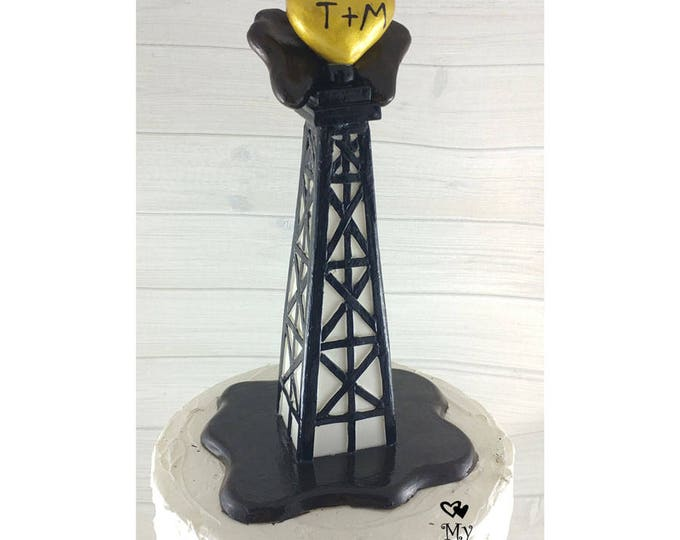 Oil Rig Derrick Wedding Cake Topper