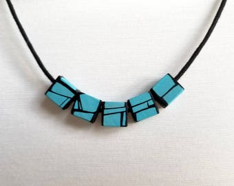 Turquoise Blue Painted Wood Bead Necklace