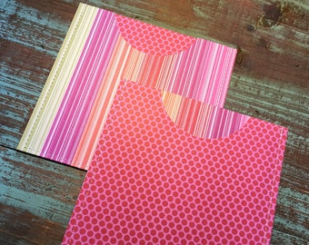 CD Paper Sleeves Set • Stripes & Dots • Handmade Pair of Disk Covers • Envelopes • Gift Wrap • Pockets • Printed Paper • DVD