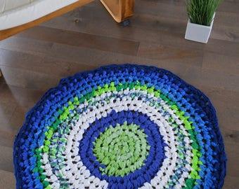 Hand made crochet round rug