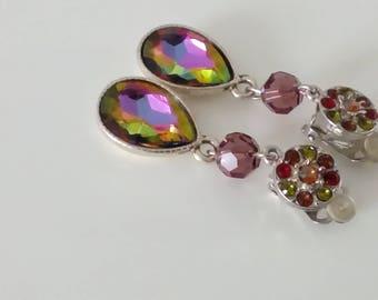 """Arc - en - ciel"" clip earrings - iridescent Crystal and Swarovski Crystal"