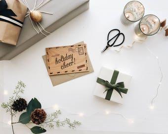 Holiday Airmail, Real Wood Card, Christmas Decor