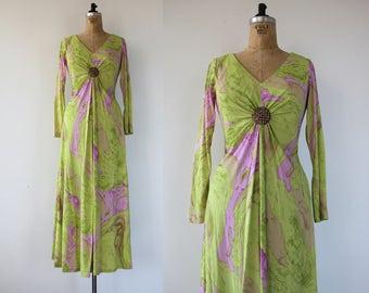 vintage 1960s dress / 60s maxi dress / 60s long sleeve hostess dress / 60s party dress / 60s marbled dress / 60s gown / 60s lime green dress