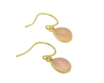 Blush pink chalcedony gemstone and gold teardrop earrings, Bridal jewellery, Valentine gifts for her, Gift for mom, Birthday gifts for her,