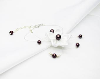 Wedding bracelet flower and white swarovski pearls and burgundy on a silver plated chain, wedding dress, wedding bracelet
