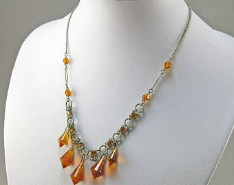 Vintage amber Glass Necklace With Faceted Czech Glass Jewelry