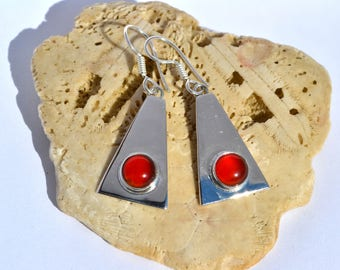 Sterling Silver Earrings with Cornelian