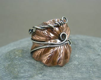 Adjustable copper thumb ring ~ leaf ring with sterling silver band ~ Mixed metal ring ~ Two tone ring ~ Wire wrapped ~ Gift for girlfriend