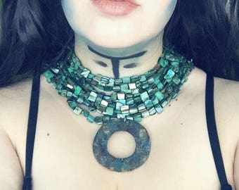 Enchantress Green Multistrand Beaded Cosplay Costume Necklace Fancy Dress