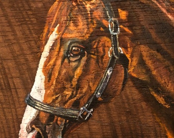 Thoroughbred painted in oil on 100 year old reclaimed Kentucky barn wood