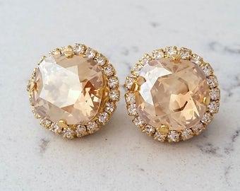 Champagne earrings,Champagne stud earrings,Champagne Bridesmaids jewelry,Chamapgne Bridal earrings, Gold earrings, Swarovski crystal
