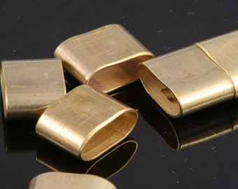 leather, ribbon ,cord ,slider , 10 pcs 12 x 8,5 x 5 mm  Raw Brass Tube beads,Raw Brass spacer  hole 11 x 4 mm bab 805