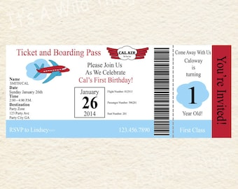 Printable Airplane Travel Ticket Theme Invitations