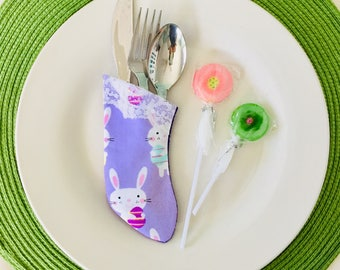 Easter Table Utensil Holders for Silverware Bunny Rabbits with Easter Eggs Rabbits Foot Table Decoration - Set of 4